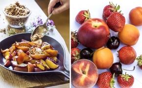 Bakade nektariner med nötsmulor